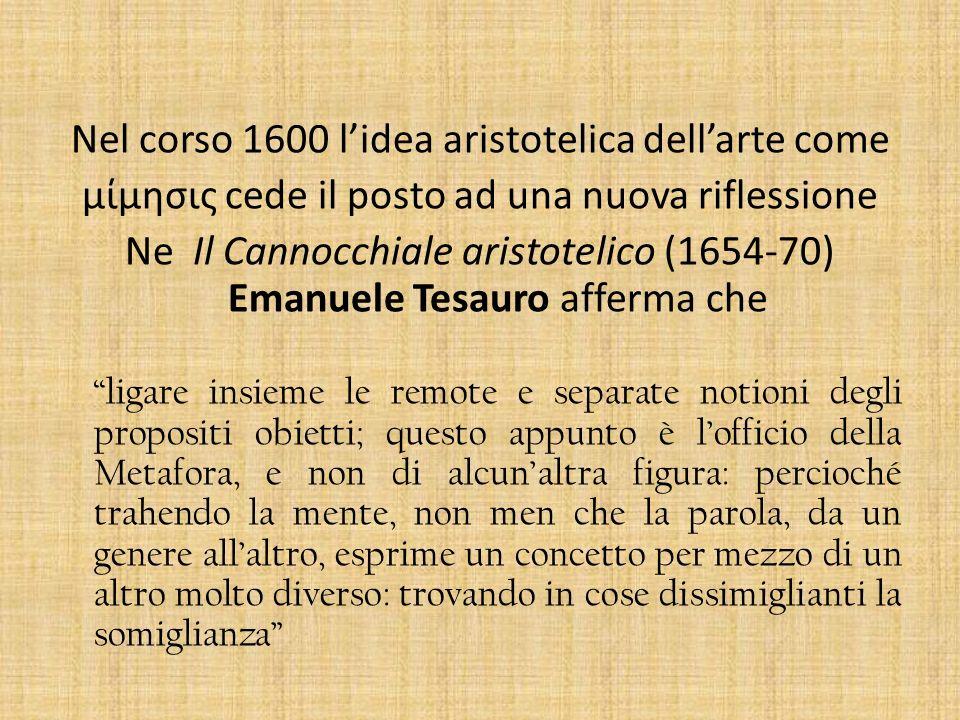 Nel corso 1600 l'idea aristotelica dell'arte come