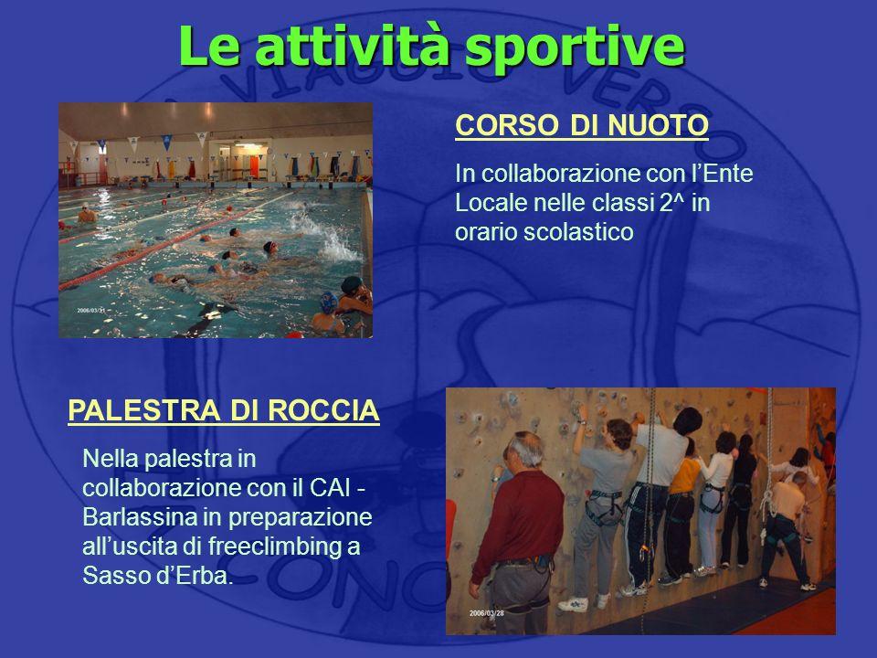 Le attività sportive CORSO DI NUOTO PALESTRA DI ROCCIA