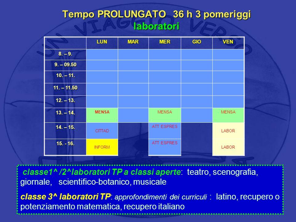Tempo PROLUNGATO 36 h 3 pomeriggi laboratori