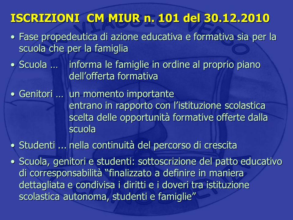 ISCRIZIONI CM MIUR n. 101 del 30.12.2010