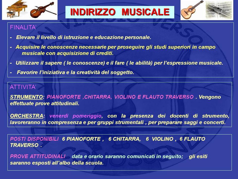 INDIRIZZO MUSICALE FINALITA' ATTIVITA'