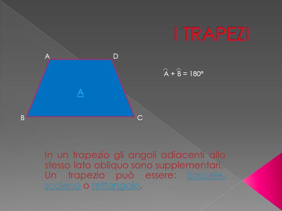 I TRAPEZI A. D. A. A + B = 180° B. C. In un trapezio gli angoli adiacenti allo stesso lato obliquo sono supplementari.