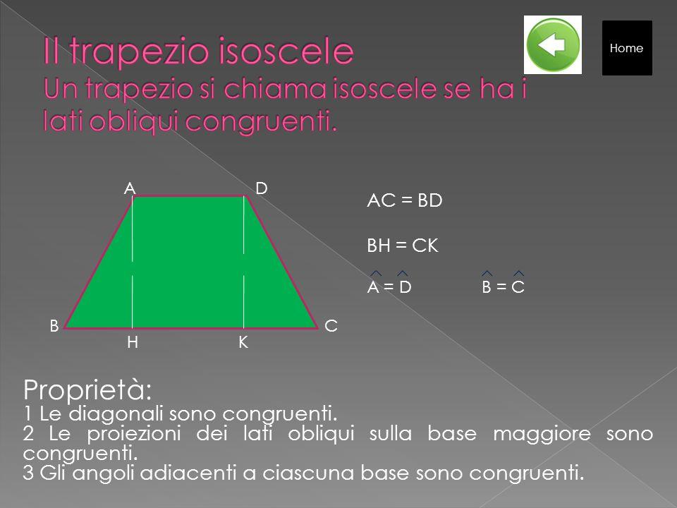Il trapezio isoscele Un trapezio si chiama isoscele se ha i lati obliqui congruenti.