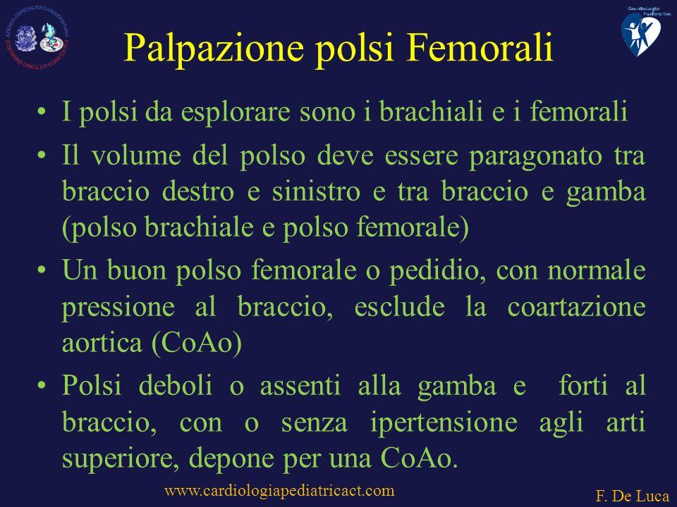 Palpazione polsi Femorali