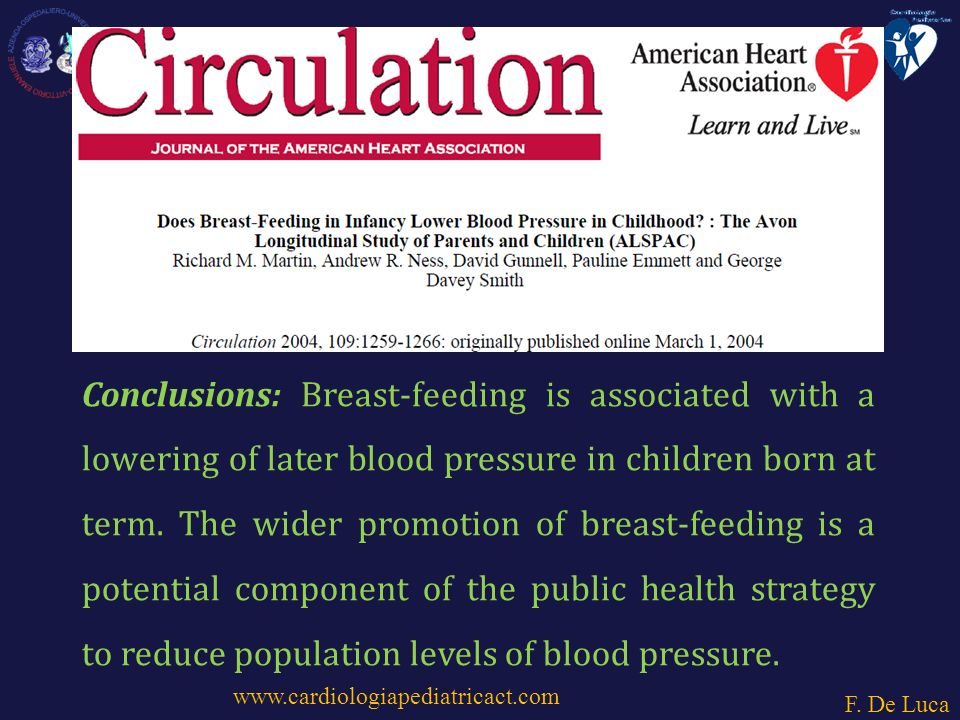 Conclusions: Breast-feeding is associated with a lowering of later blood pressure in children born at term.