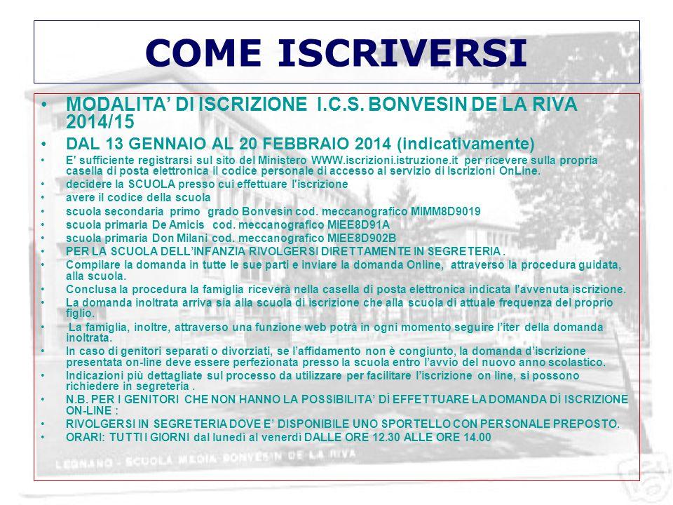 COME ISCRIVERSIMODALITA' DI ISCRIZIONE I.C.S. BONVESIN DE LA RIVA 2014/15. DAL 13 GENNAIO AL 20 FEBBRAIO 2014 (indicativamente)