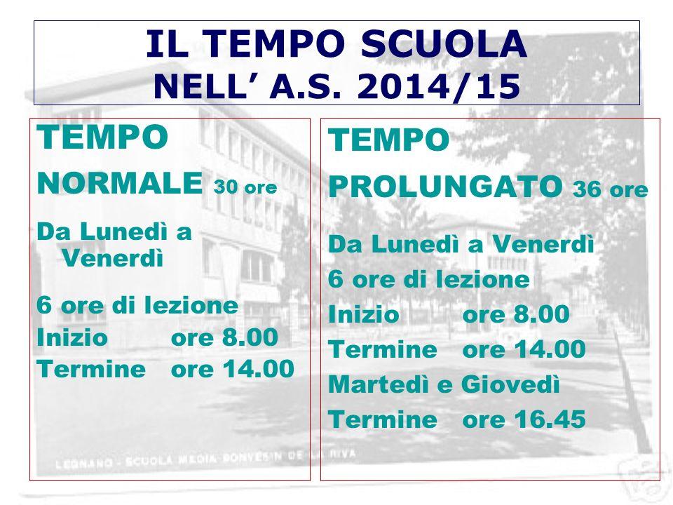 IL TEMPO SCUOLA NELL' A.S. 2014/15