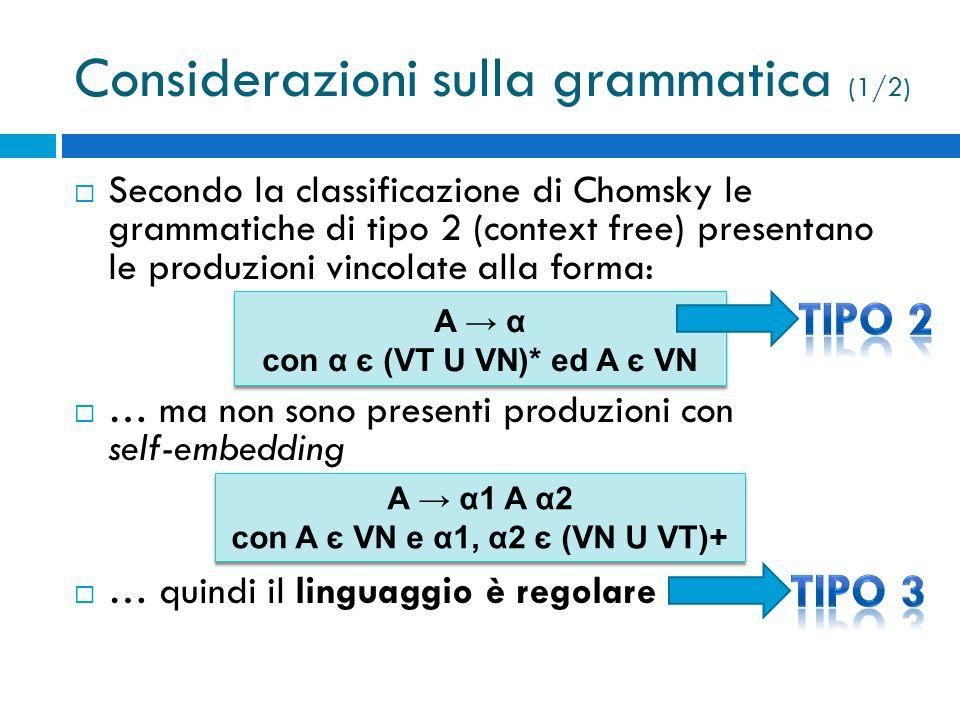 Considerazioni sulla grammatica (1/2)