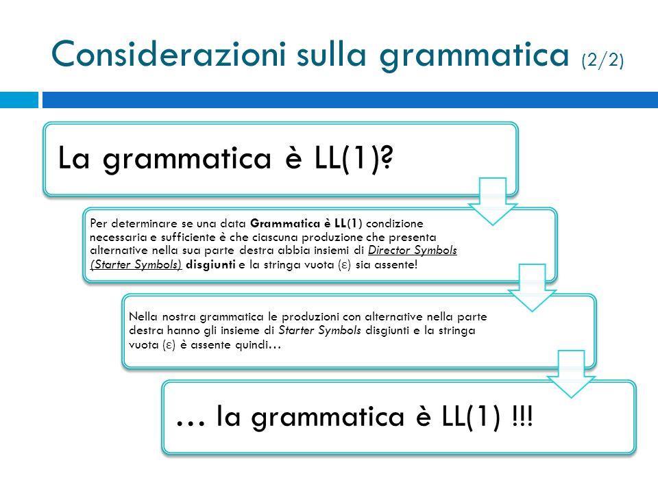 Considerazioni sulla grammatica (2/2)