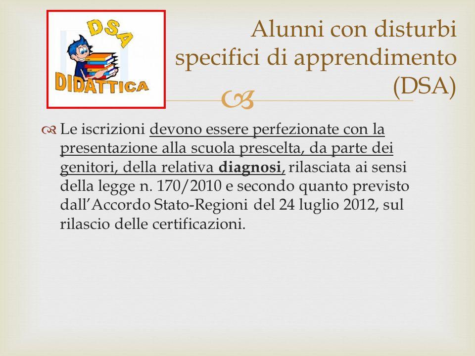 Alunni con disturbi specifici di apprendimento (DSA)