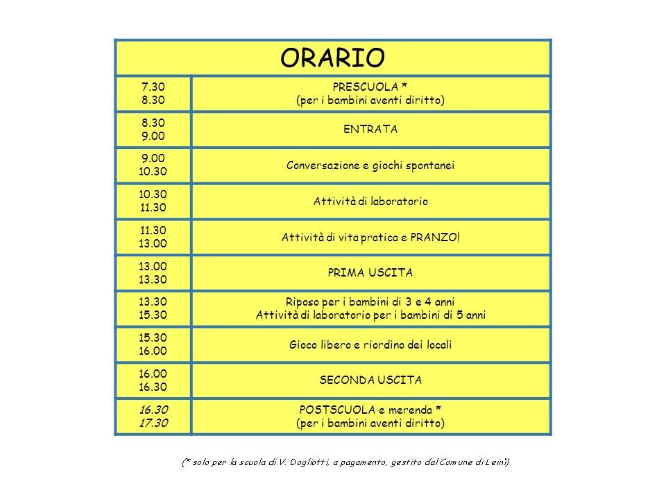 ORARIO 7.30 8.30 PRESCUOLA * (per i bambini aventi diritto) 9.00