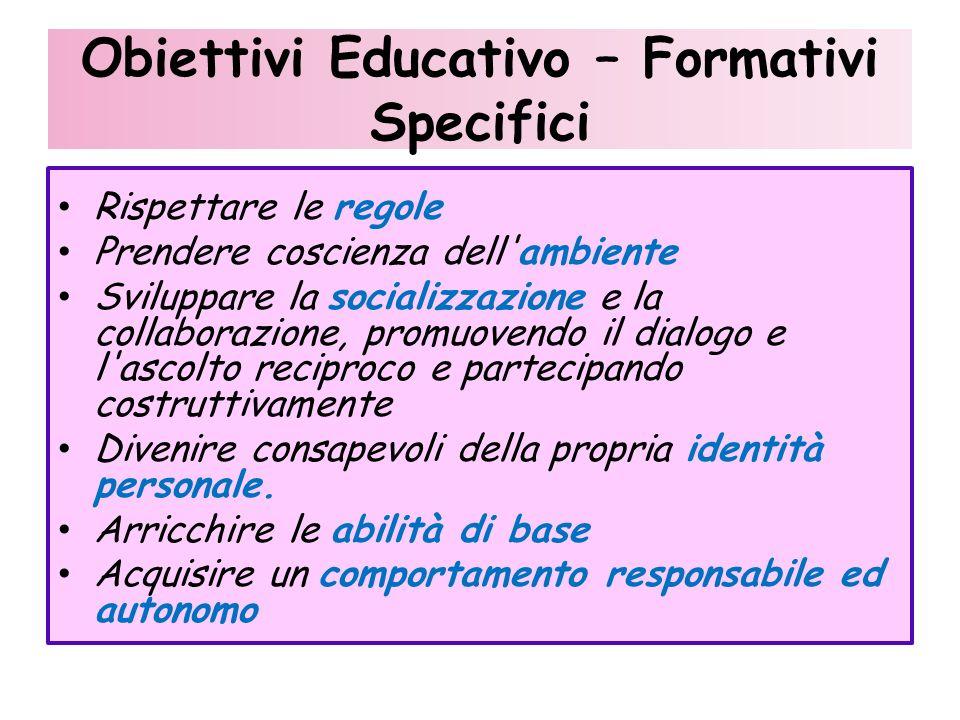 Obiettivi Educativo – Formativi Specifici