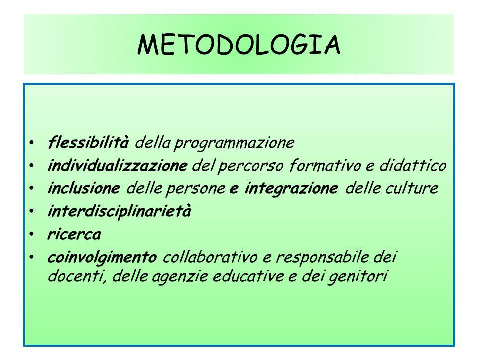 METODOLOGIA flessibilità della programmazione