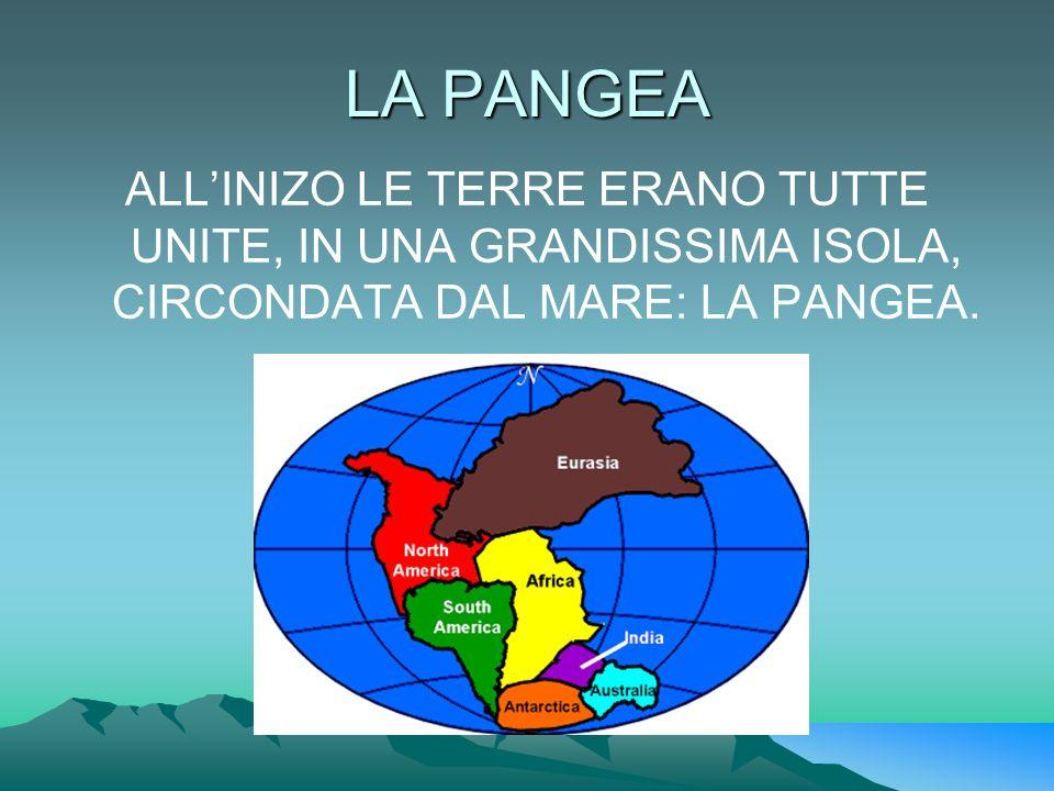 LA PANGEA ALL'INIZO LE TERRE ERANO TUTTE UNITE, IN UNA GRANDISSIMA ISOLA, CIRCONDATA DAL MARE: LA PANGEA.