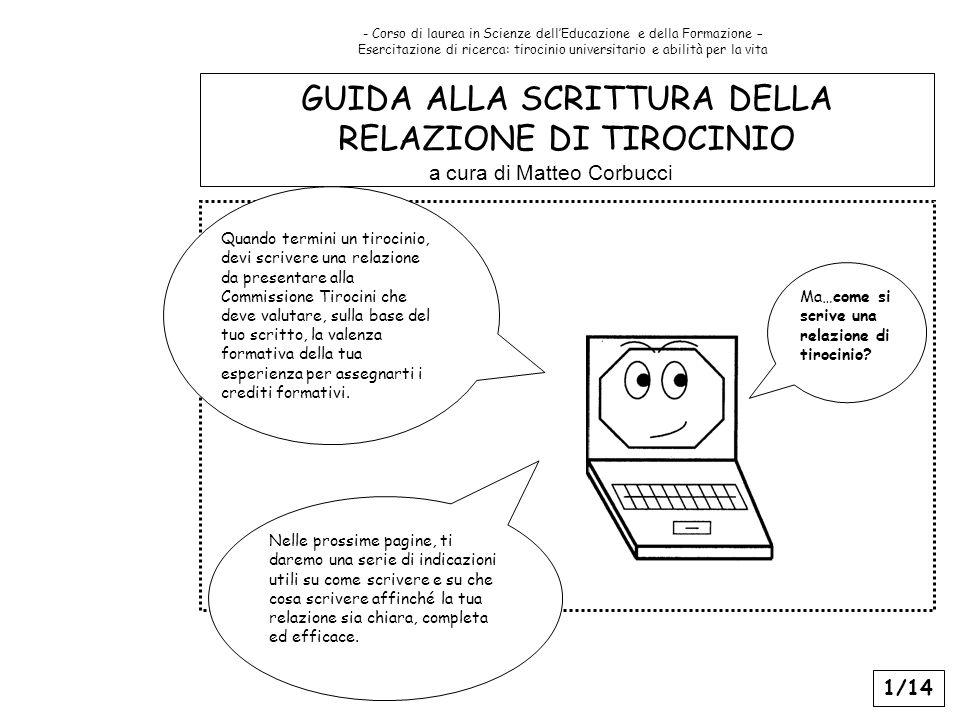 GUIDA ALLA SCRITTURA DELLA RELAZIONE DI TIROCINIO