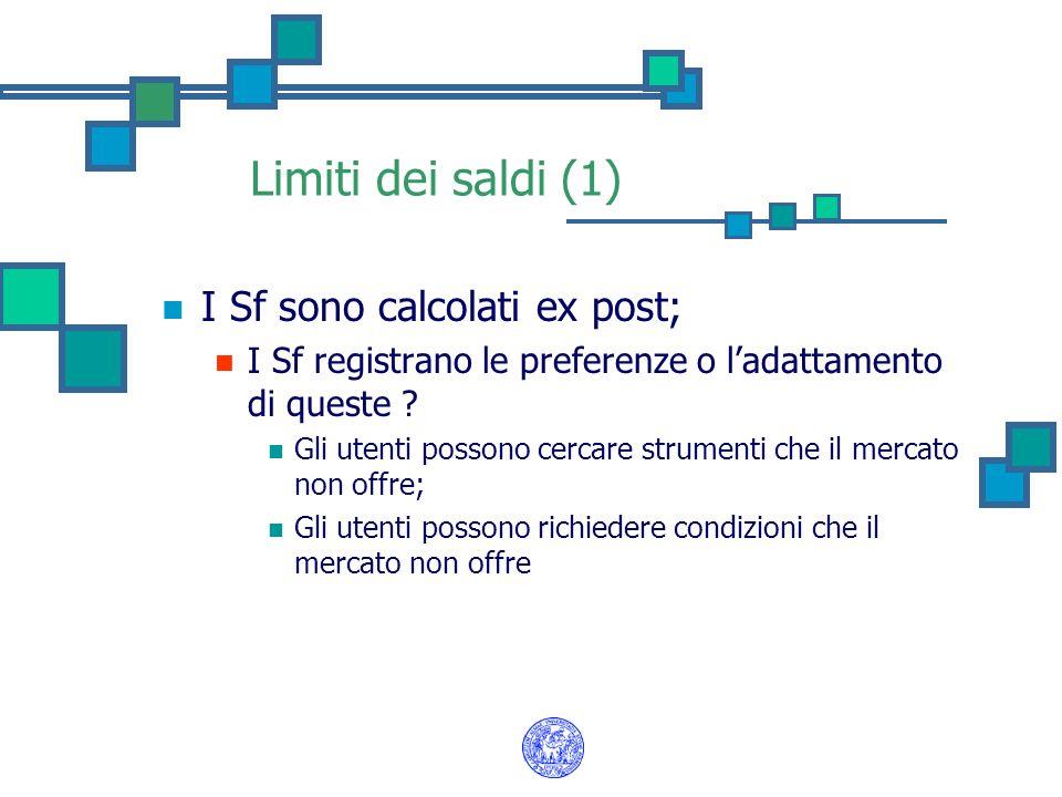 Limiti dei saldi (1) I Sf sono calcolati ex post;