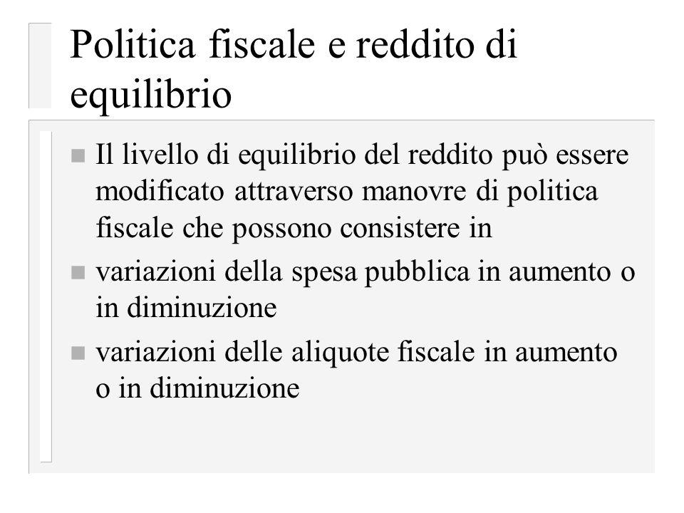 Politica fiscale e reddito di equilibrio