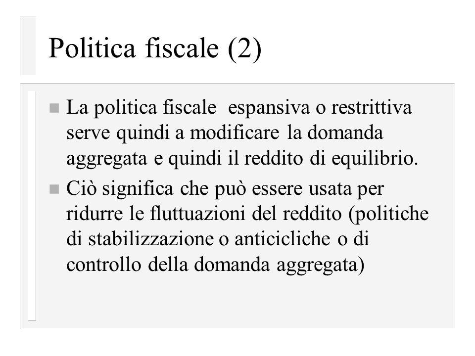 Politica fiscale (2) La politica fiscale espansiva o restrittiva serve quindi a modificare la domanda aggregata e quindi il reddito di equilibrio.