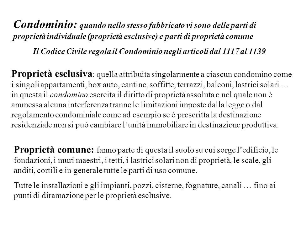 Il Codice Civile regola il Condominio negli articoli dal 1117 al 1139