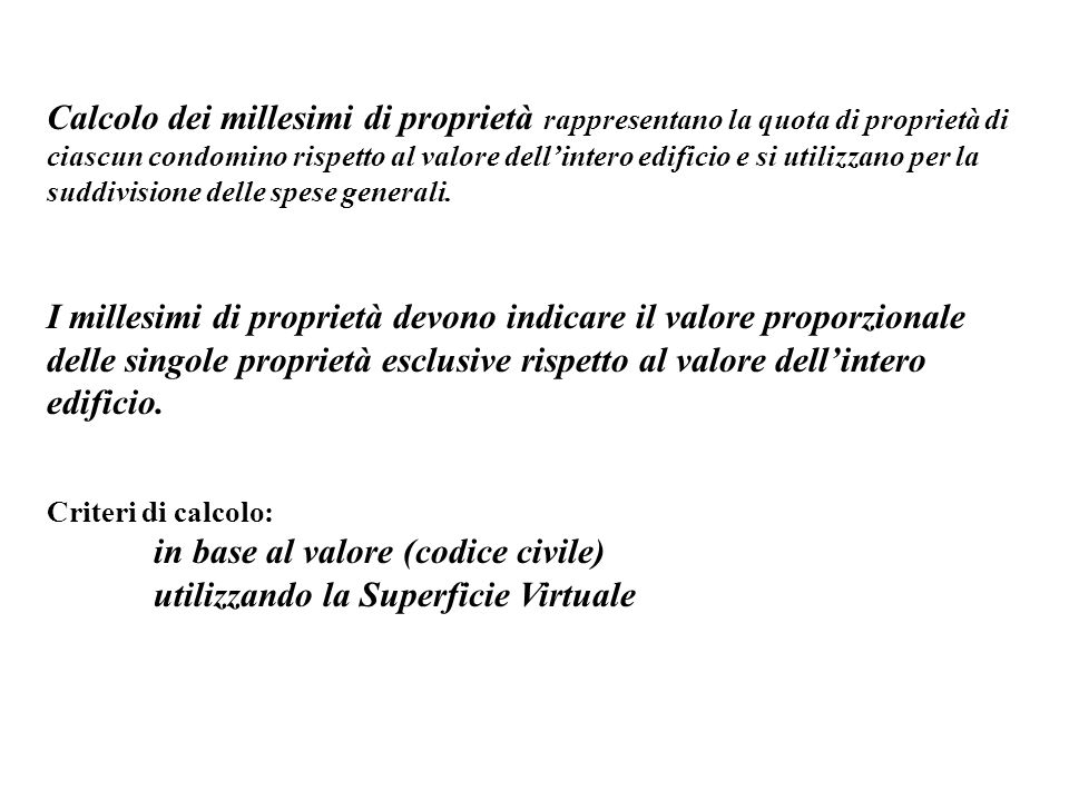 in base al valore (codice civile) utilizzando la Superficie Virtuale
