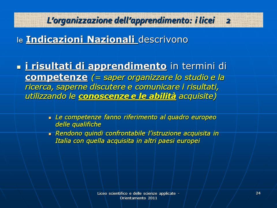 L'organizzazione dell'apprendimento: i licei 2