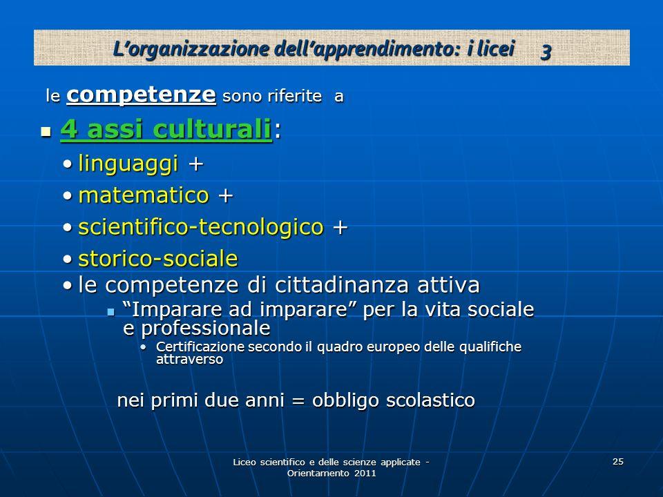 L'organizzazione dell'apprendimento: i licei 3