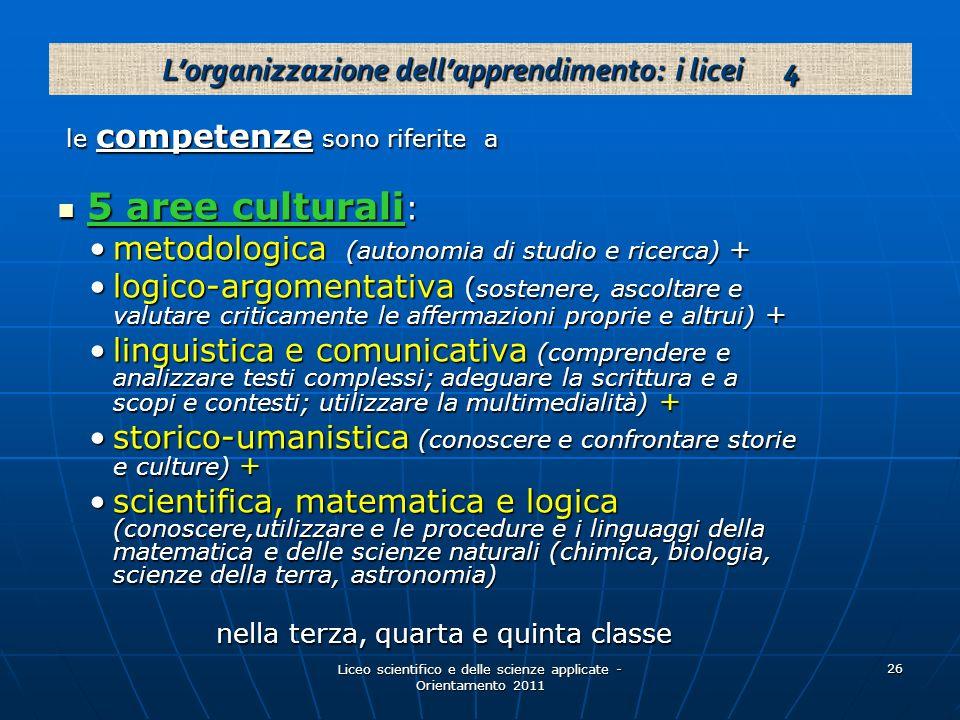 L'organizzazione dell'apprendimento: i licei 4