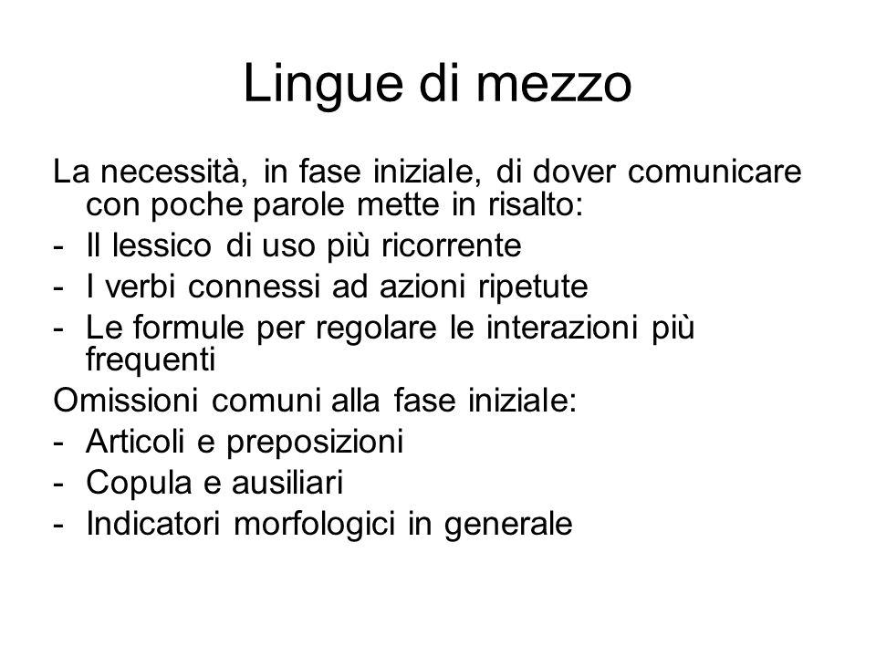 Lingue di mezzo La necessità, in fase iniziale, di dover comunicare con poche parole mette in risalto: