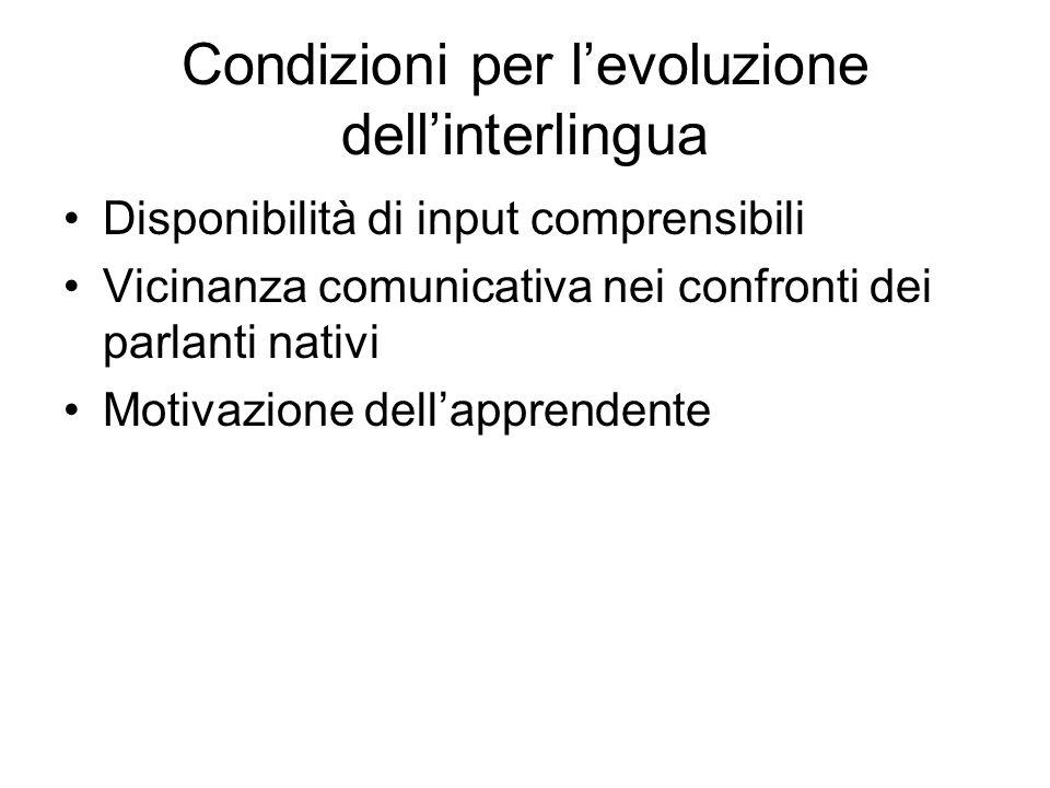 Condizioni per l'evoluzione dell'interlingua