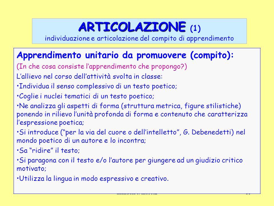 ARTICOLAZIONE (1) individuazione e articolazione del compito di apprendimento
