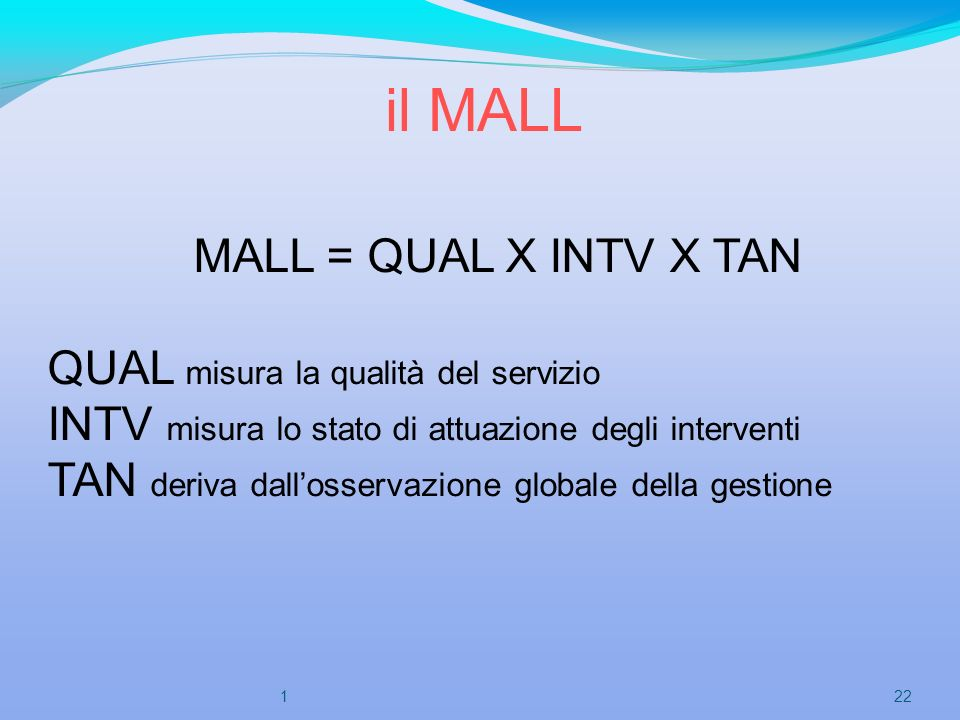 il MALL MALL = QUAL X INTV X TAN QUAL misura la qualità del servizio