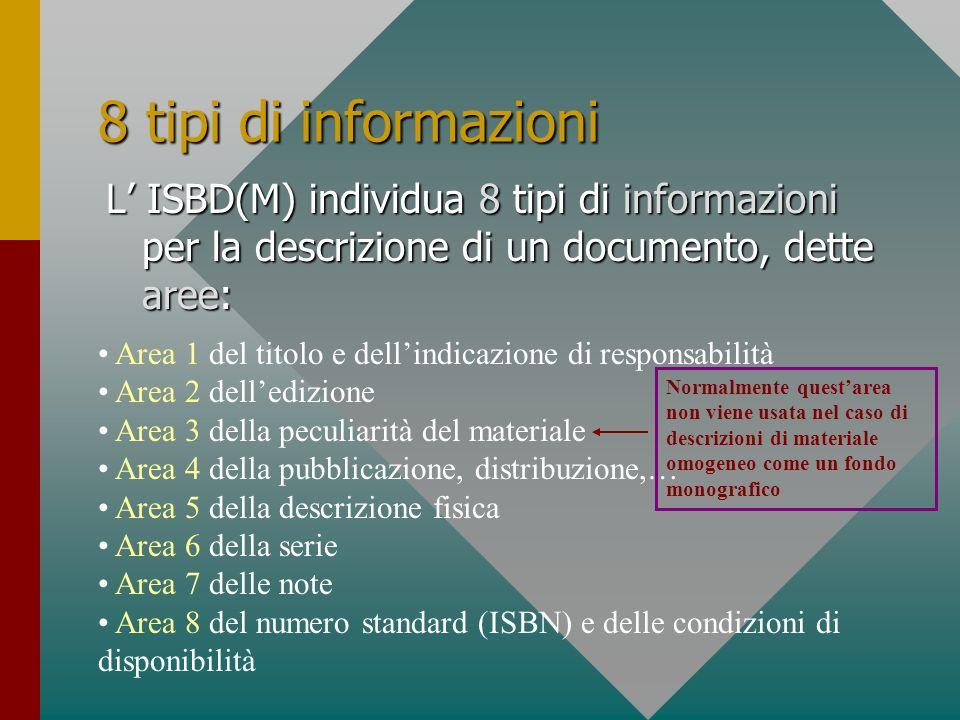 8 tipi di informazioni L' ISBD(M) individua 8 tipi di informazioni per la descrizione di un documento, dette aree: