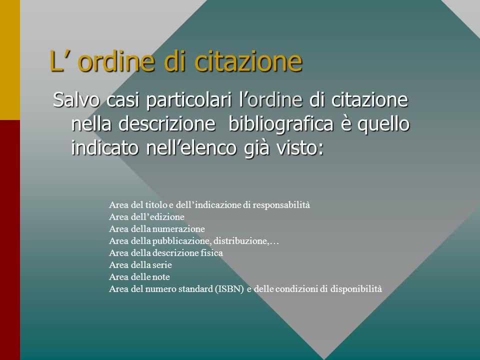 L' ordine di citazione Salvo casi particolari l'ordine di citazione nella descrizione bibliografica è quello indicato nell'elenco già visto: