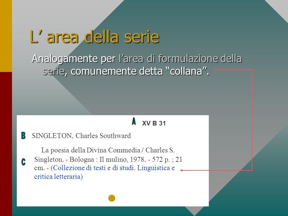 L' area della serie Analogamente per l'area di formulazione della serie, comunemente detta collana .