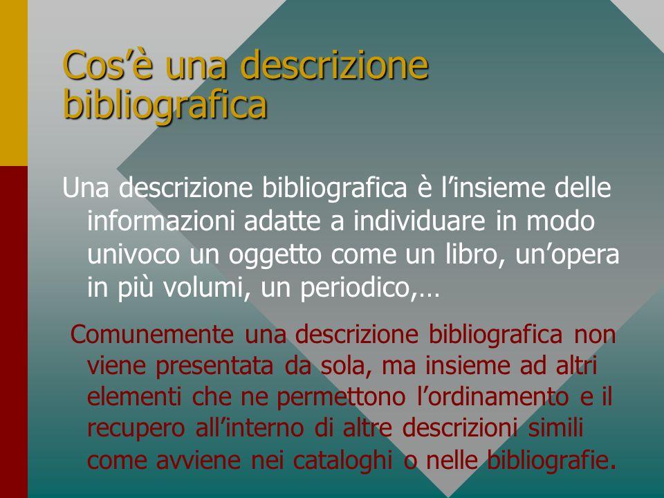 Cos'è una descrizione bibliografica