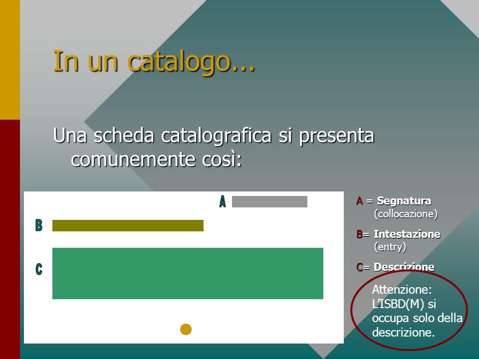 In un catalogo... Una scheda catalografica si presenta comunemente così: A = Segnatura (collocazione)