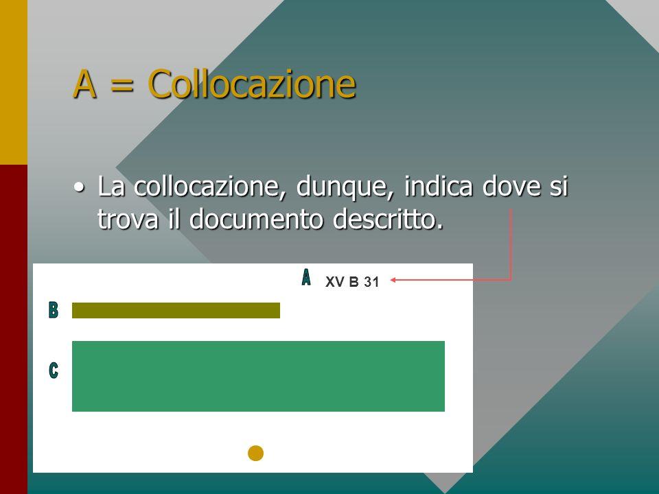 A = Collocazione La collocazione, dunque, indica dove si trova il documento descritto. A. XV B 31.