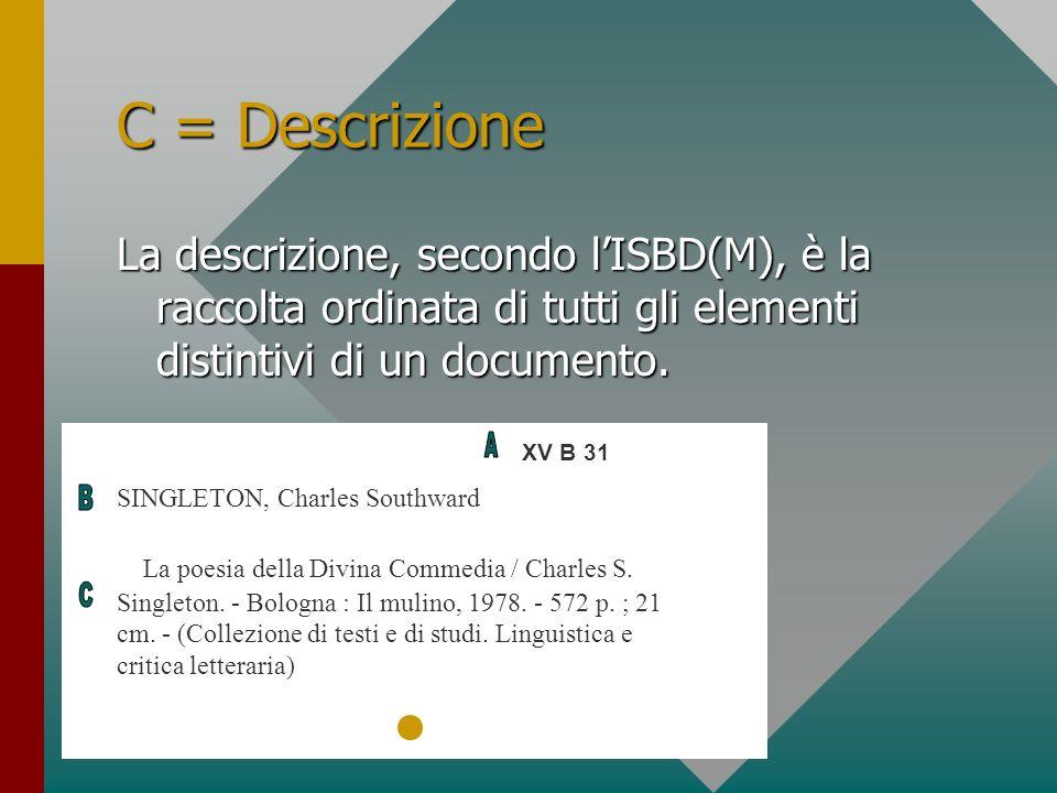 C = Descrizione La descrizione, secondo l'ISBD(M), è la raccolta ordinata di tutti gli elementi distintivi di un documento.