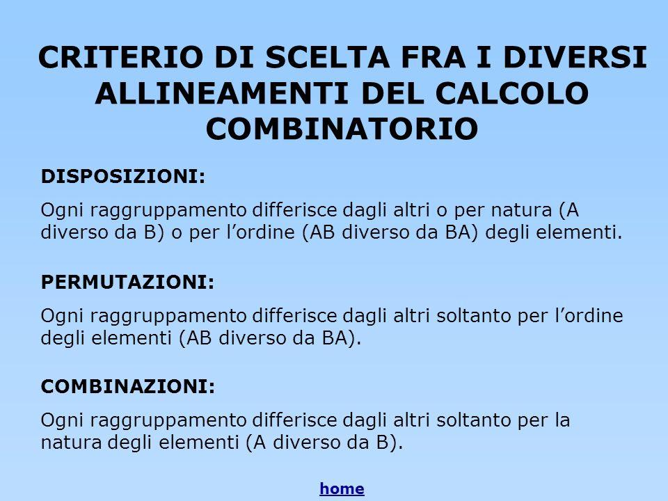 CRITERIO DI SCELTA FRA I DIVERSI ALLINEAMENTI DEL CALCOLO COMBINATORIO