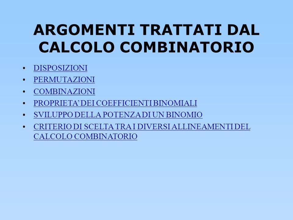 ARGOMENTI TRATTATI DAL CALCOLO COMBINATORIO
