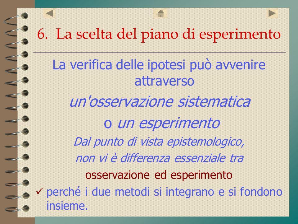 6. La scelta del piano di esperimento