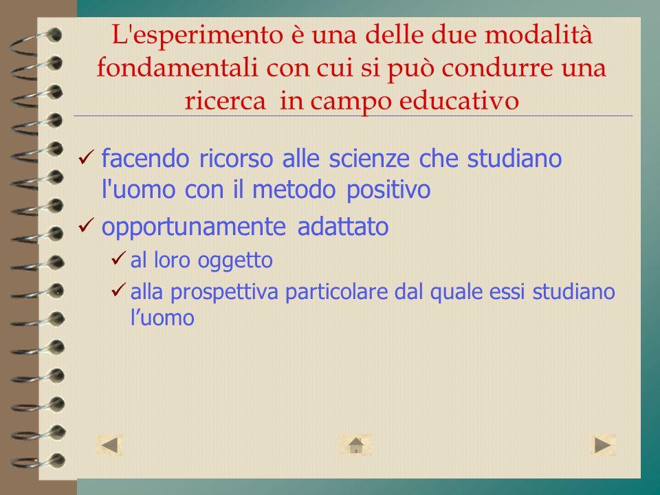 L esperimento è una delle due modalità fondamentali con cui si può condurre una ricerca in campo educativo