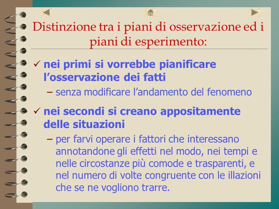 Distinzione tra i piani di osservazione ed i piani di esperimento: