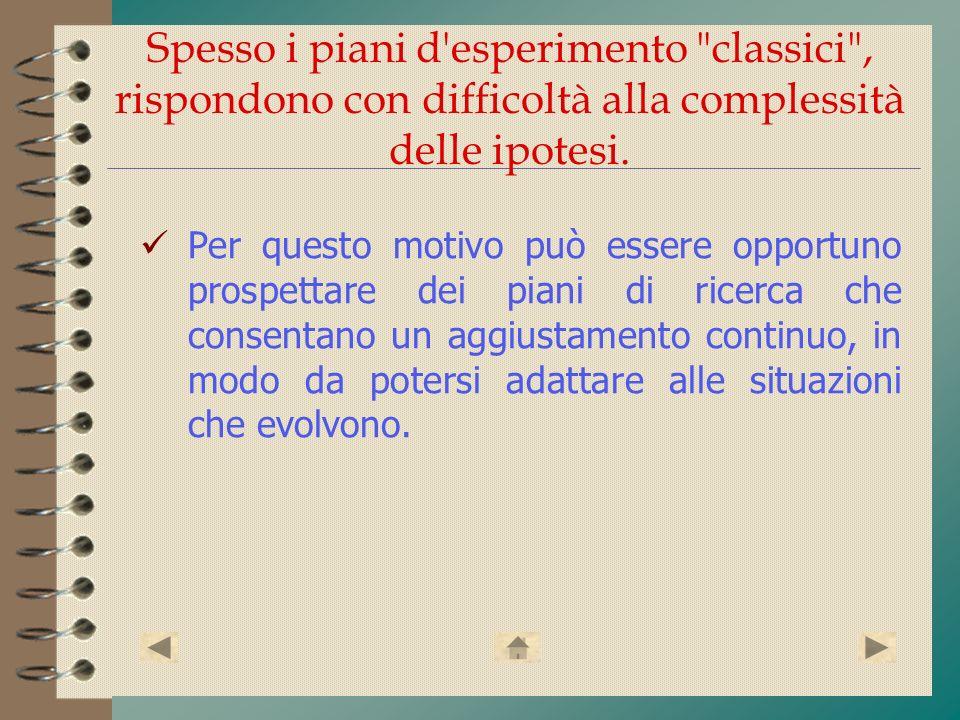 Spesso i piani d esperimento classici , rispondono con difficoltà alla complessità delle ipotesi.