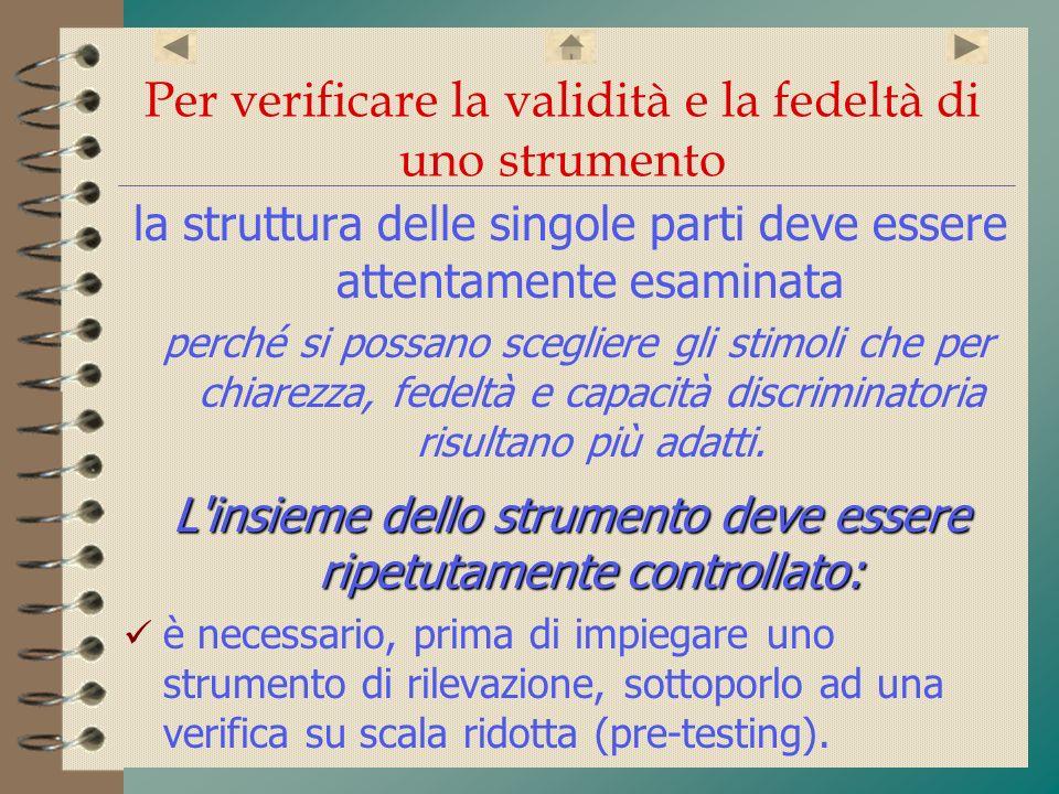 Per verificare la validità e la fedeltà di uno strumento