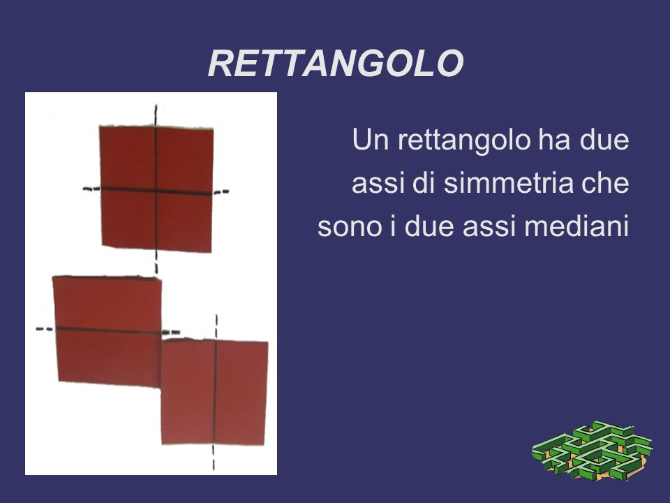 RETTANGOLO Un rettangolo ha due assi di simmetria che