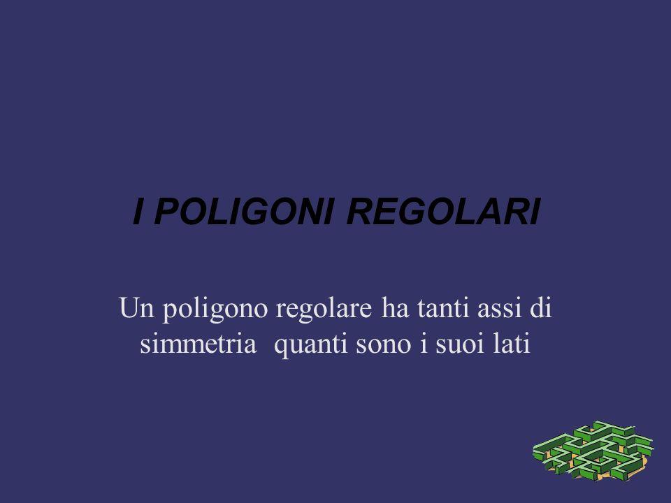 I POLIGONI REGOLARI Un poligono regolare ha tanti assi di simmetria quanti sono i suoi lati