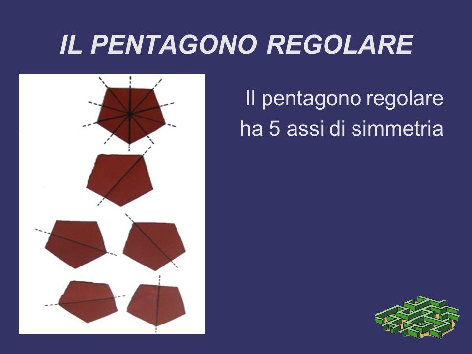IL PENTAGONO REGOLARE Il pentagono regolare ha 5 assi di simmetria