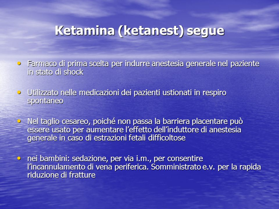 Ketamina (ketanest) segue