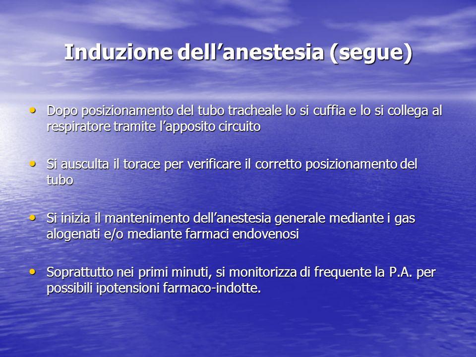 Induzione dell'anestesia (segue)